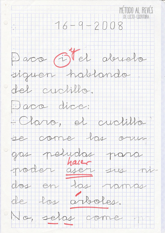 escritura en niño suizo. Un año después