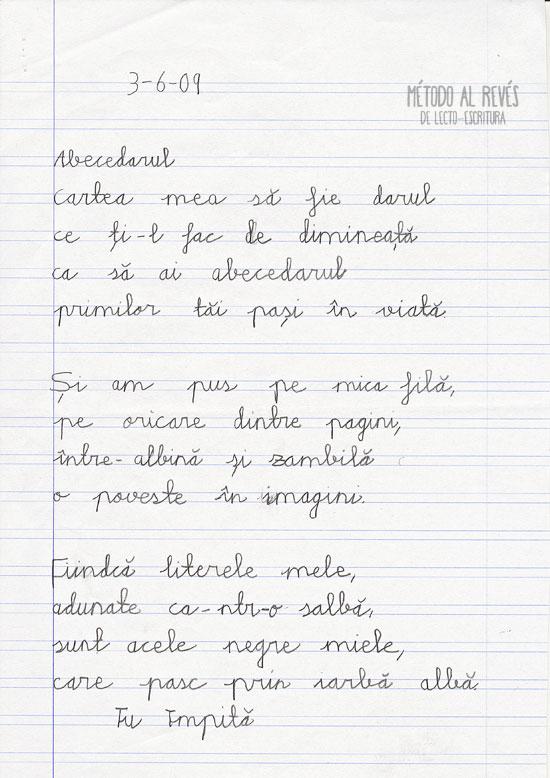 escritura en niño rumano. Un año después, en su idioma.