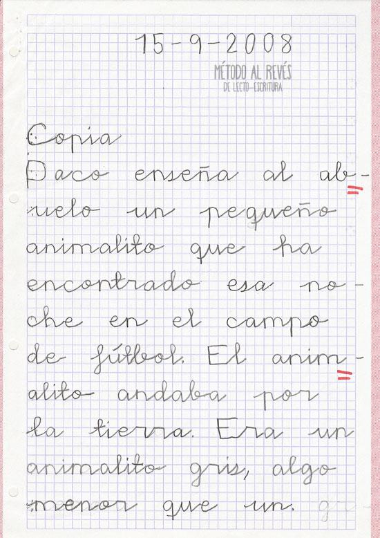 escritura en niño rumano. Un año después