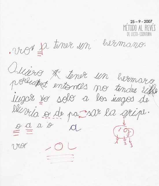 escritura en niño rumano. Prueba inicial