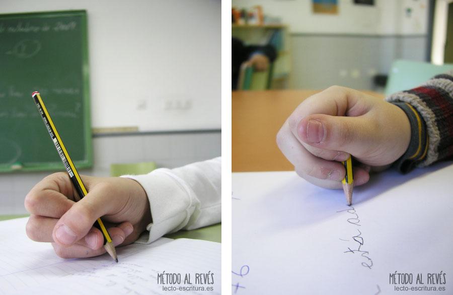 agarre incorrecto del lápiz, crispación