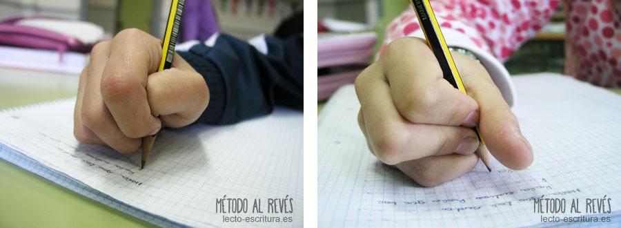 agarre incorrecto del lápiz, crispación width=