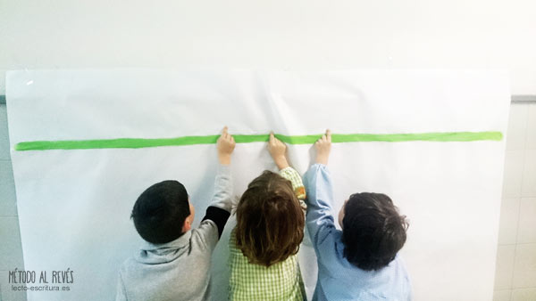 ejercicios línea escritura niños